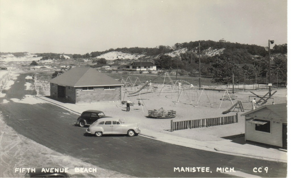 Black and White Postcard of Fifth Avenue Beach playground with sand dunes in the background